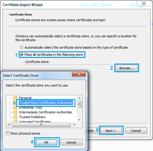 Settings on import certificate wizard.